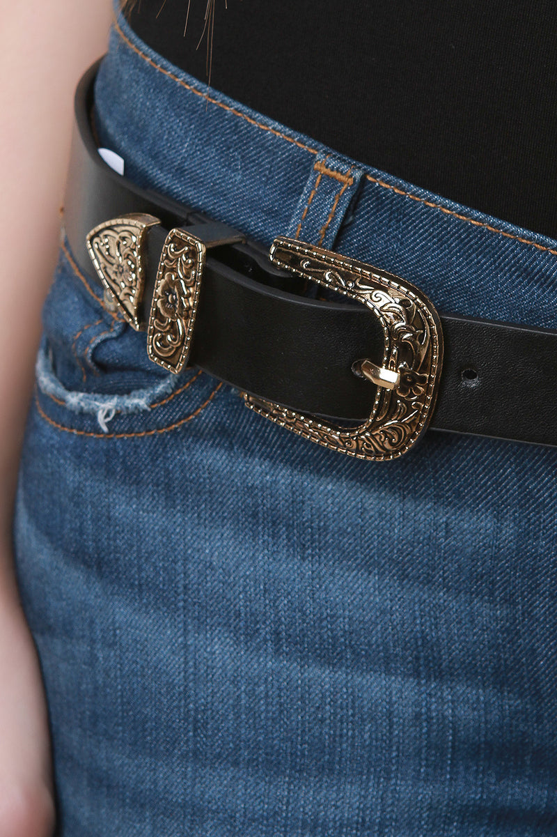Double Floral Embossed Buckle Belt