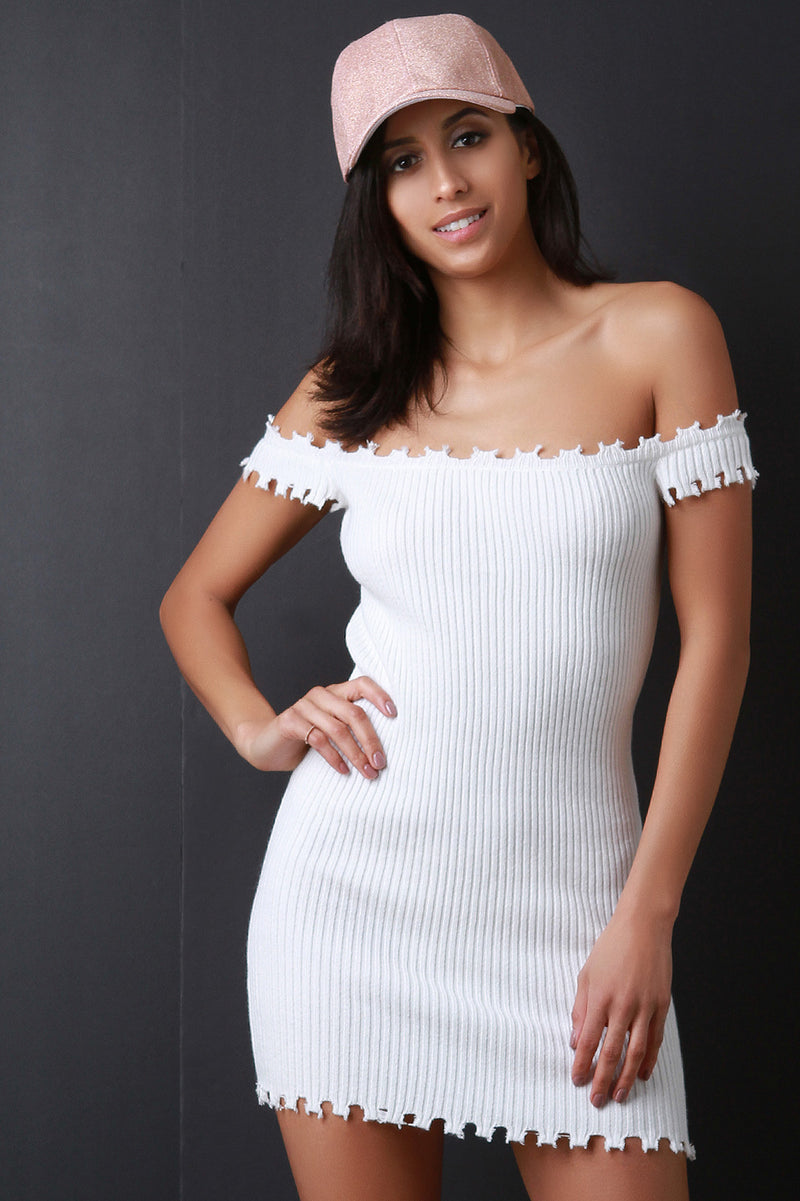 Distressed Edge Bardot Ribbed Knit Bodycon Dress