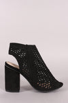 Suede Perforated Peep Toe Chunky Heel