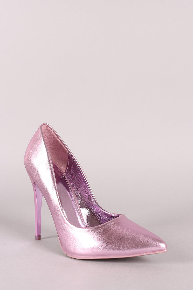 Metallic Pointy Toe Stiletto Pump