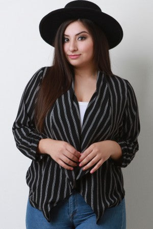 Striped Crepe Collar Ruched Blazer