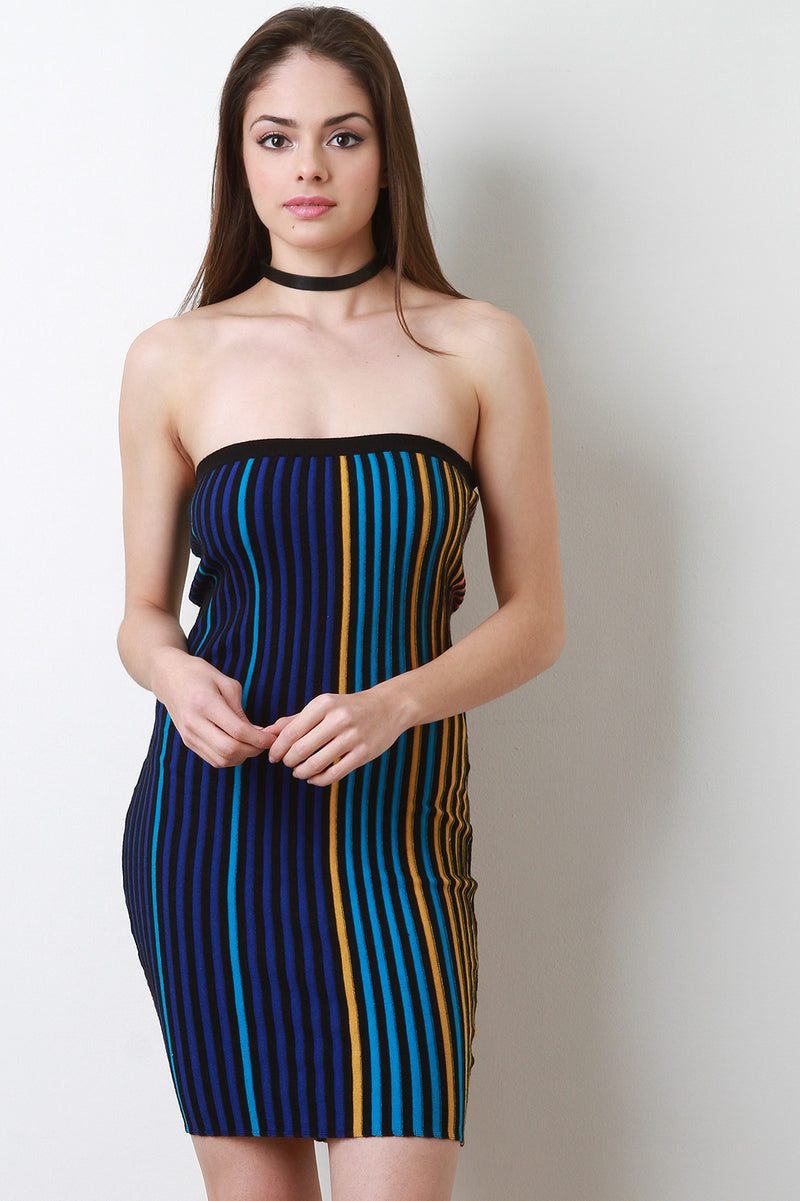 Colored Ribbed Knit Tube Dress