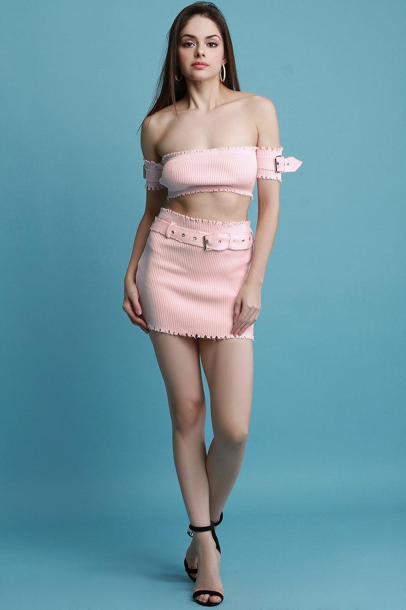 Raw Cut Ribbed Knit Crop Top With Belted Mini Skirt Set