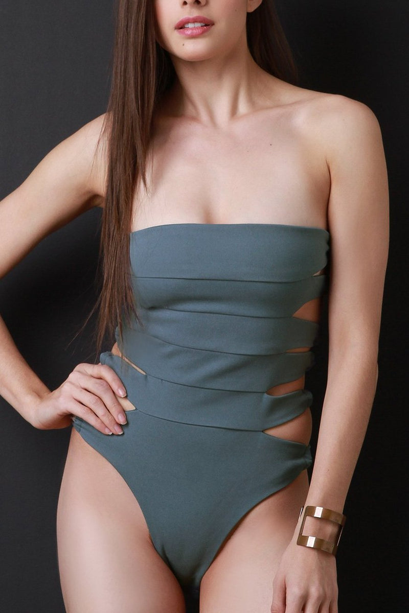 Panel Seam Strappy Back Tube Bodysuit
