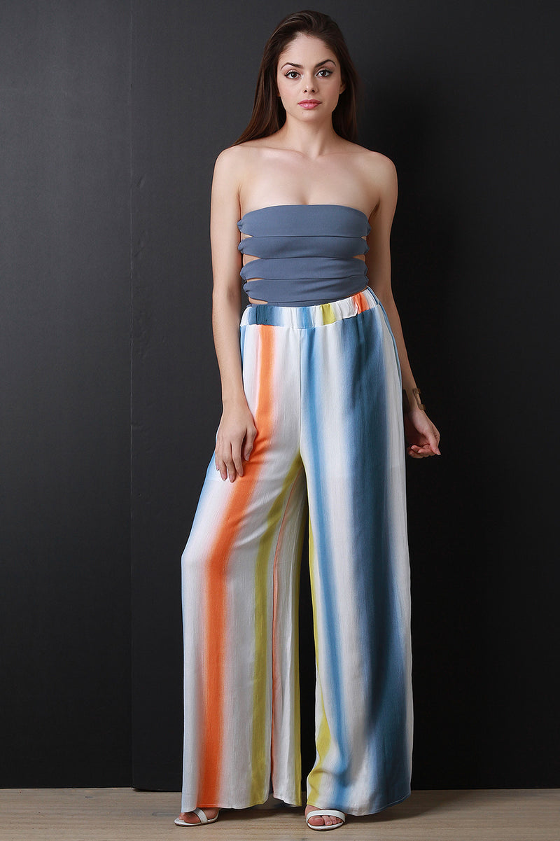 High Rise Striped Palazzo Pants