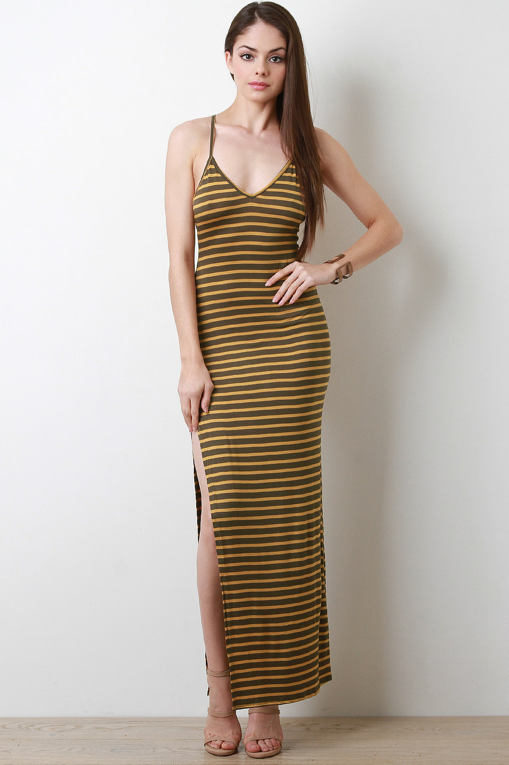 Striped Side Slit Maxi Dress