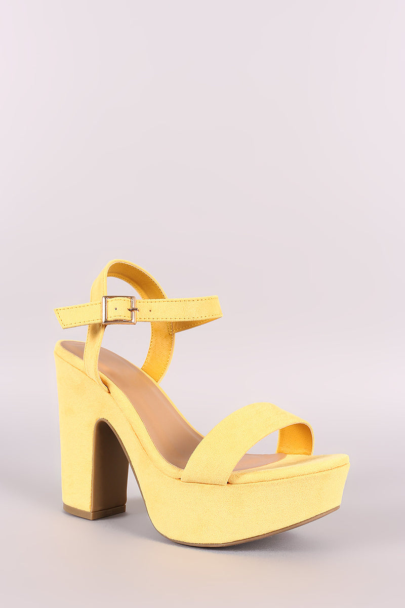 Bamboo Suede Ankle Strap Chunky Platform Heel