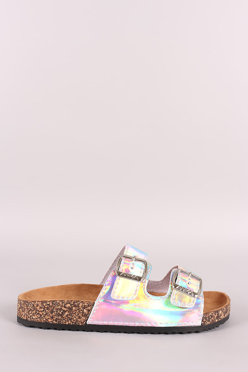 Iridescent Patent Open Toe Buckled Cork Footbed Slide Sandal
