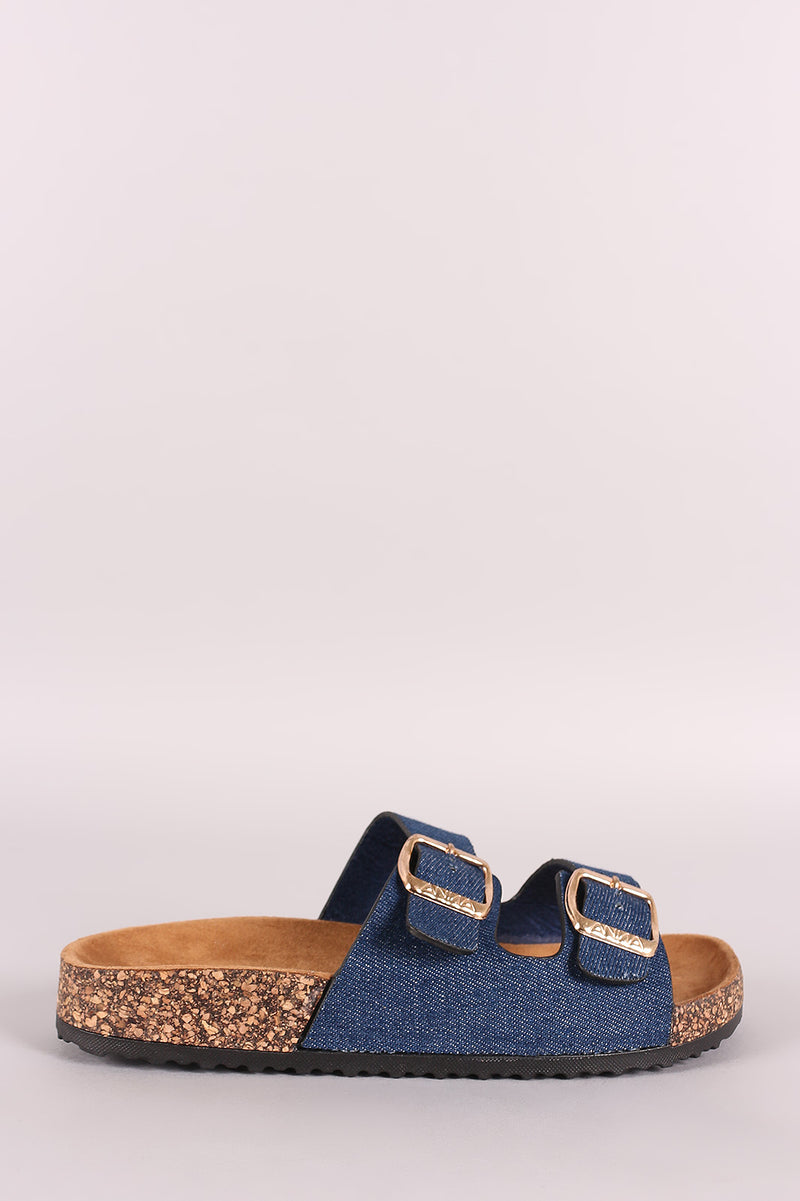 Denim Open Toe Buckled Cork Footbed Slide Sandal