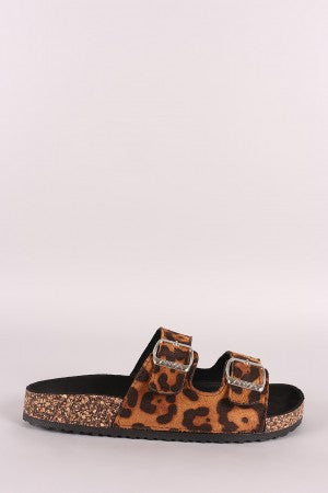 Leopard Suede Open Toe Buckled Cork Footbed Slide Sandal