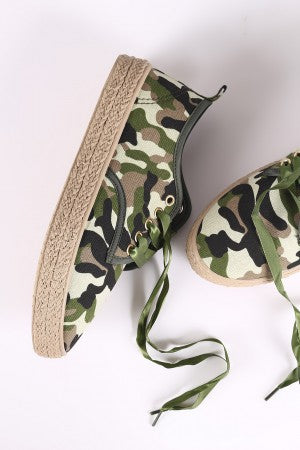 Camouflage Ribbon Lace Up Espadrille Trim Sneakers.