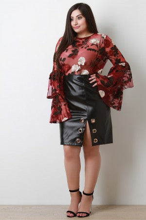 Grommet Rings Vegan Leather Skirt.