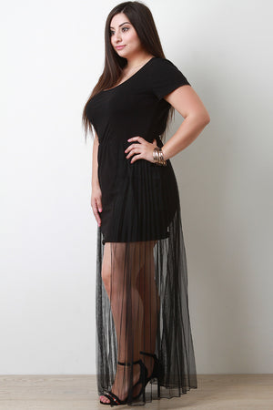 Mesh Accordion Maxi Tail Mini Dress