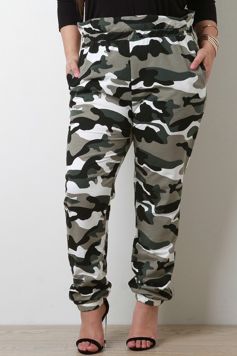 Paperbag Waist Camouflage Jogger Pants