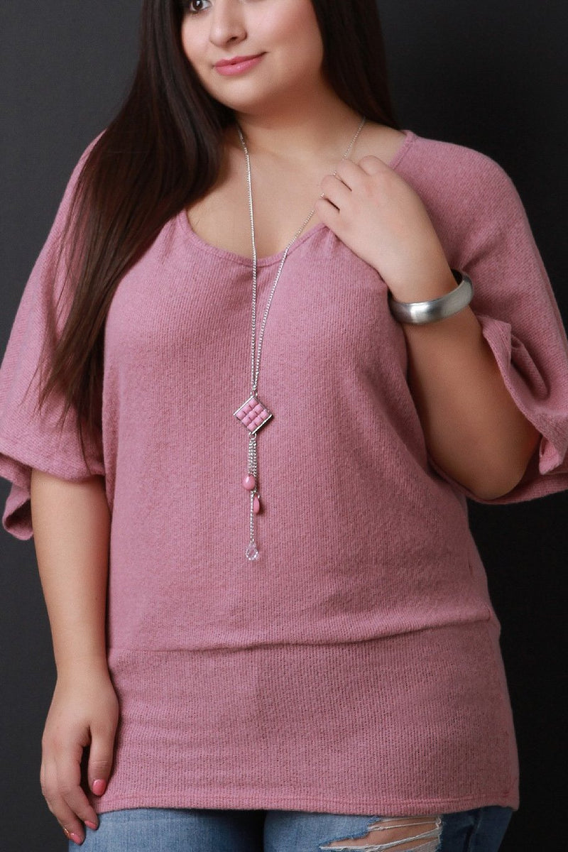 Soft Knit Dolman Sleeve Layer Necklace Top