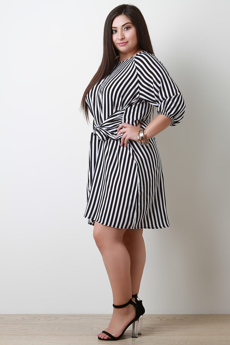 Stripe Keyhole Tie-Front Quarter Sleeves Midi Dress