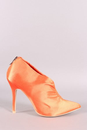 Satin Ruched Pointy Toe Stiletto Booties