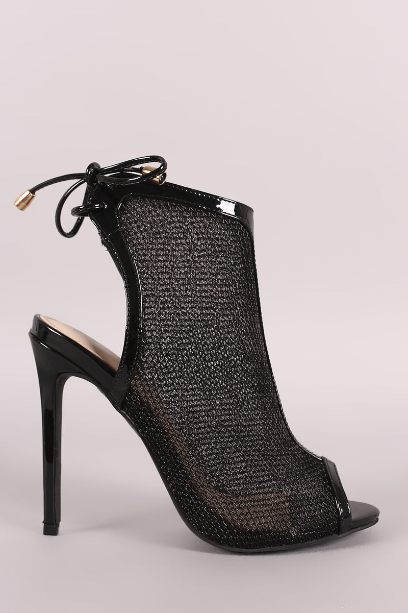 Patent Mesh Back Lace-Up Mule Heeled Booties