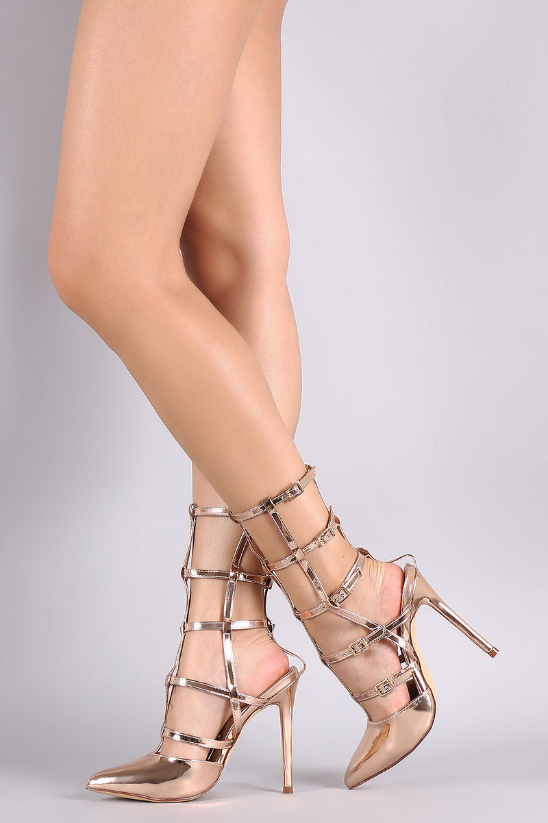 Liliana Metallic Pointy Toe Buckle Accent Caged Stiletto Pump