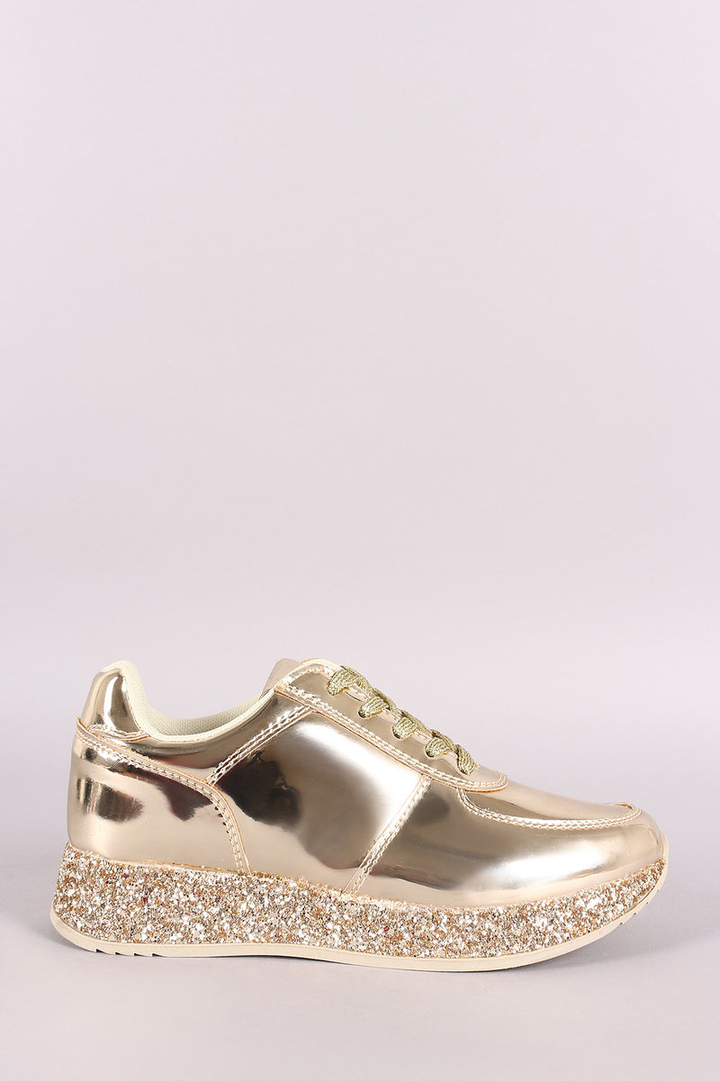Liliana Patent Glitter Trim Low Top Lace Up Sneaker