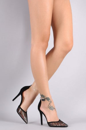 Qupid Clear Ankle Strap Mesh Pointy Toe Pump