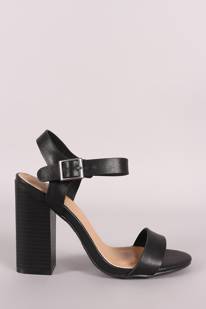 Bamboo Open Toe Ankle Strap Chunky Heel