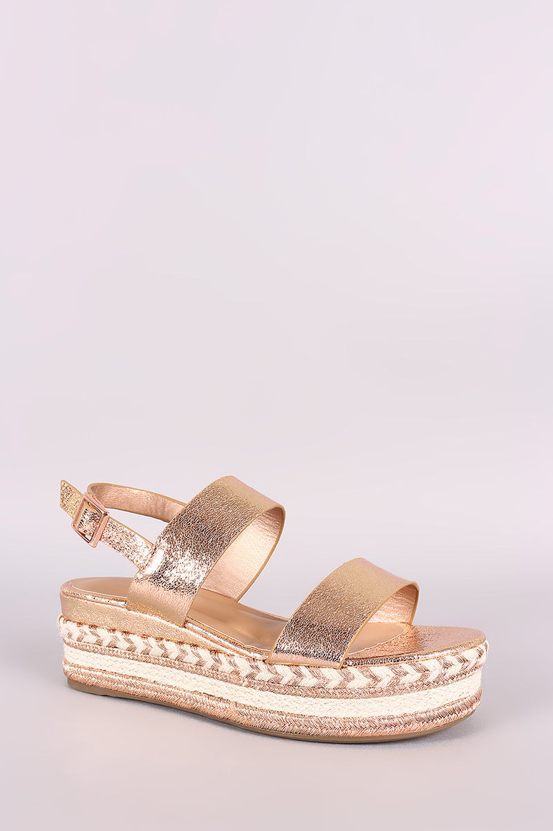 Bamboo Cracked Metallic Slingback Flatform Wedge