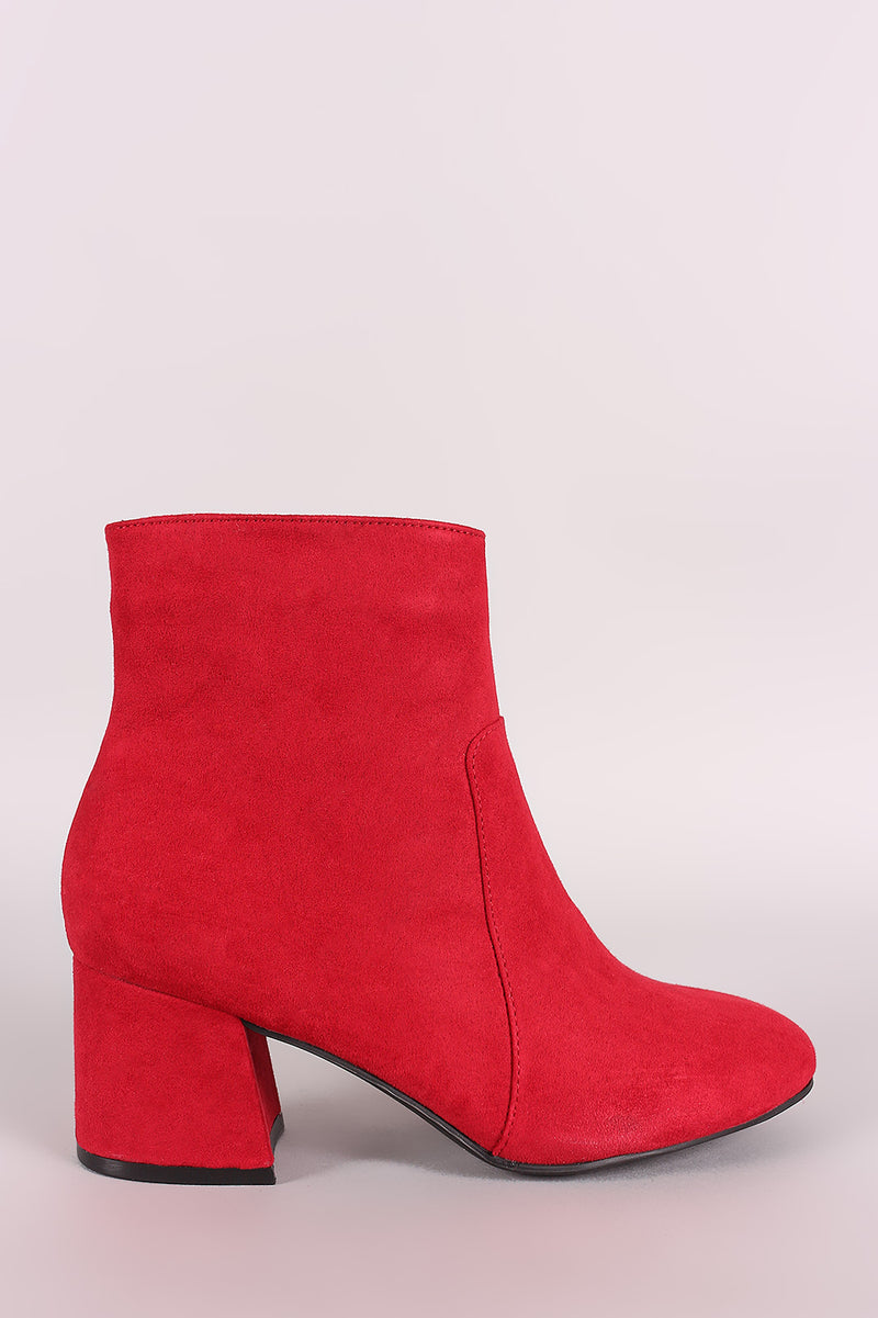 Bamboo Suede Block Heeled Ankle Boots