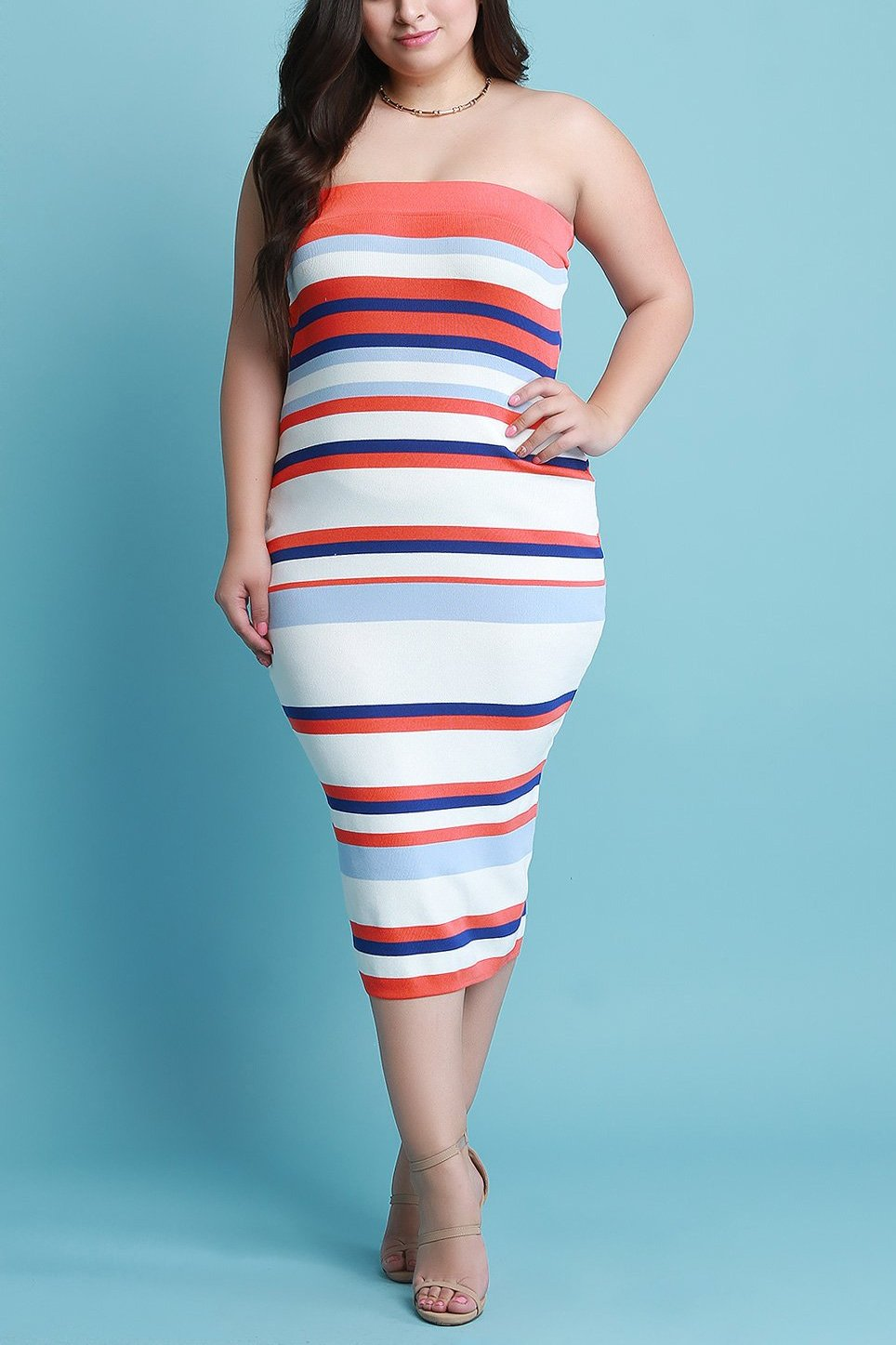 Striped Ribbed Knit Tube Midi Dress