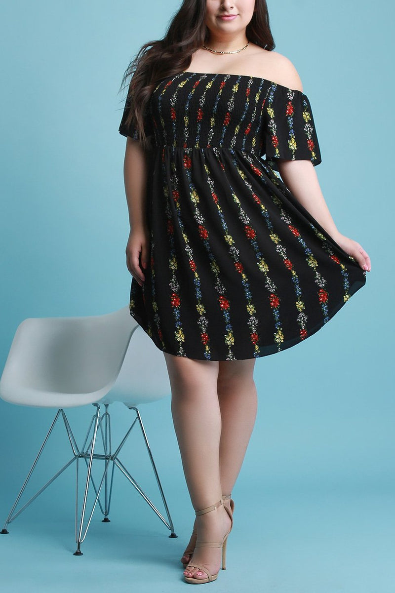 Floral Print Smock Off-The-Shoulder Dress
