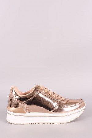 Qupid Mirror Metallic Low Top Lace Up Sneaker