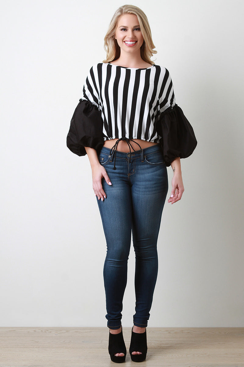 Striped Poplin Puff Sleeves Drawstring Hem Top