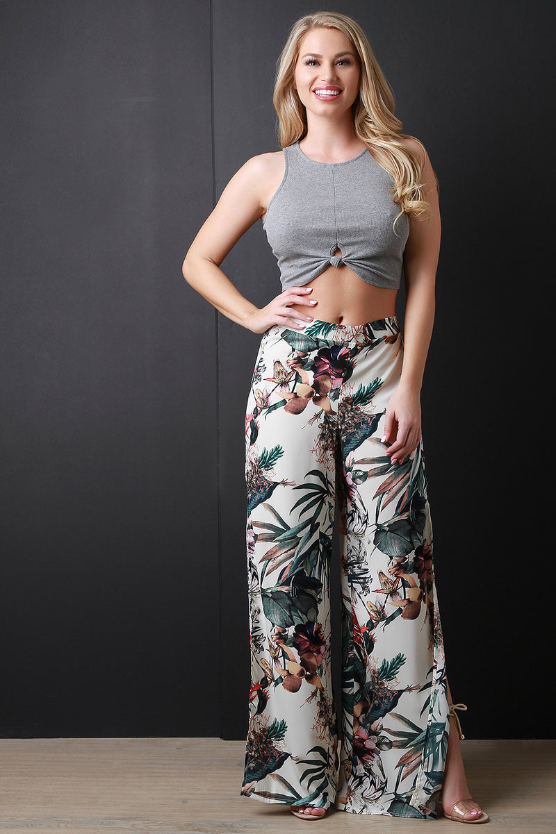 Sleeveless Cutaway Knotted Crop Top