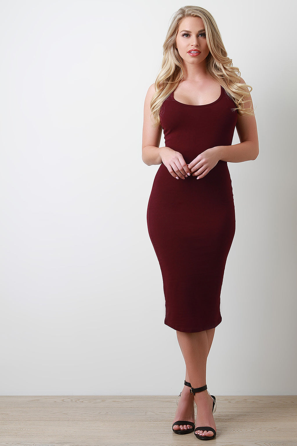 Racerback Jersey Knit Midi Dress