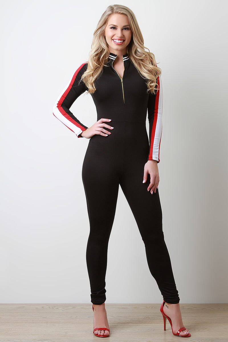 Sporty Arm Striped Half Zip Jumpsuit