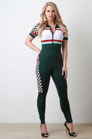 Finish Line Race Checkered Jumpsuit