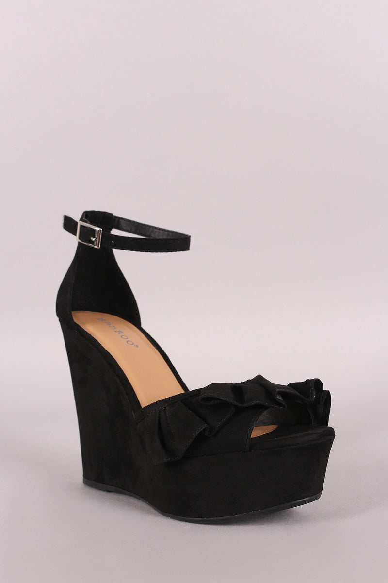 Bamboo Ruffle Suede Ankle Strap Platform Wedge