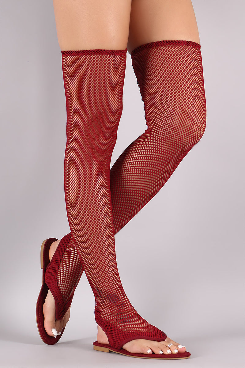 Fishnet Mesh V-Strap Thigh High Flat Sandal