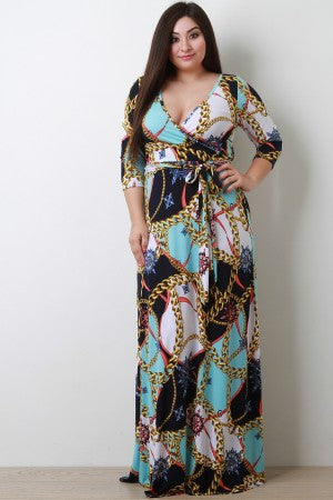 Chain Link Compass Surplice Maxi Dress.