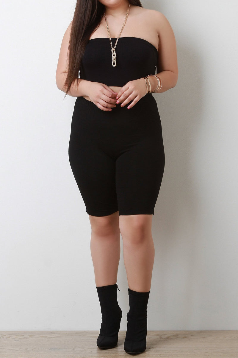 Stretchy Knit High Waisted Biker Shorts