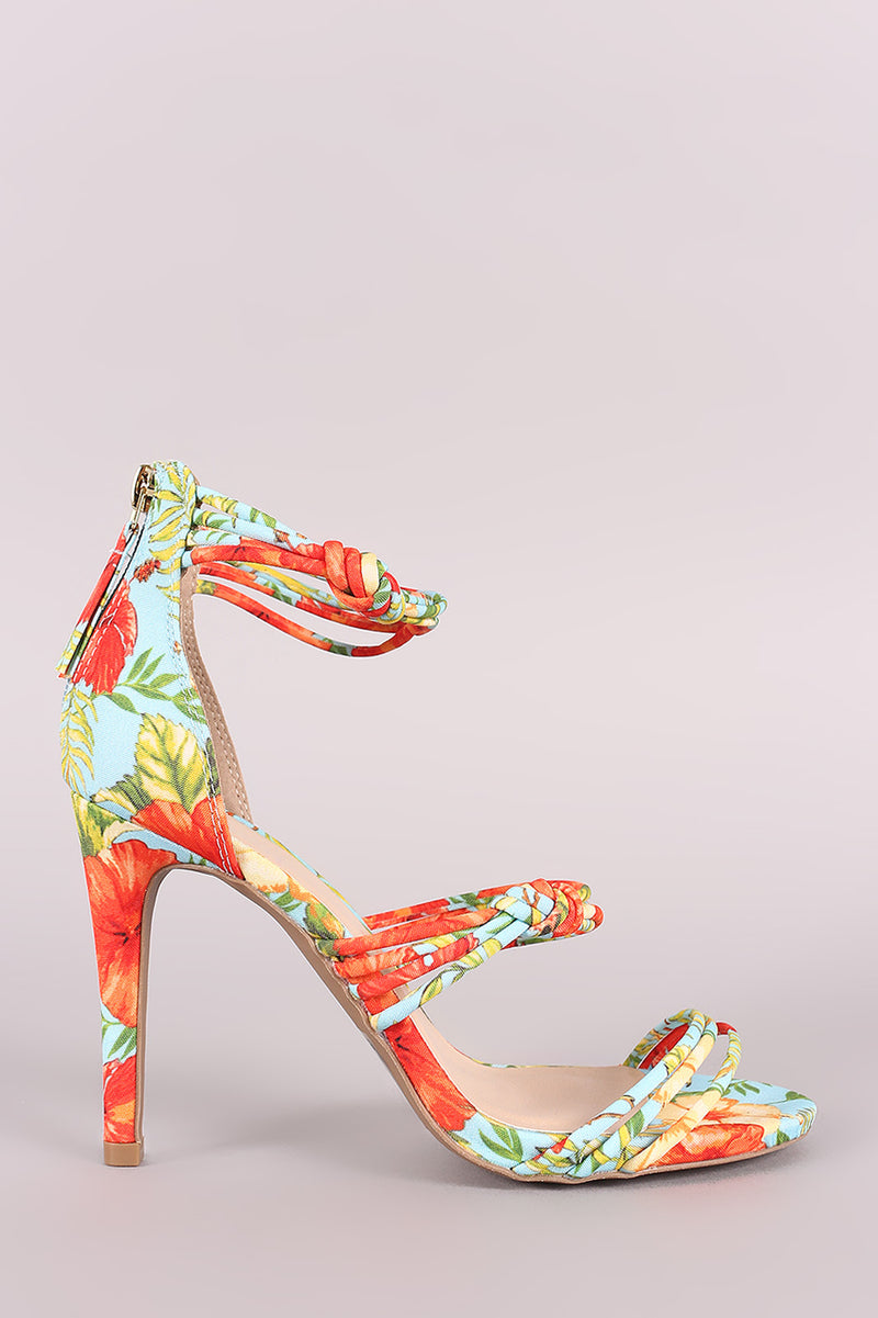 Qupid Floral Knotted Straps Single Sole Heel