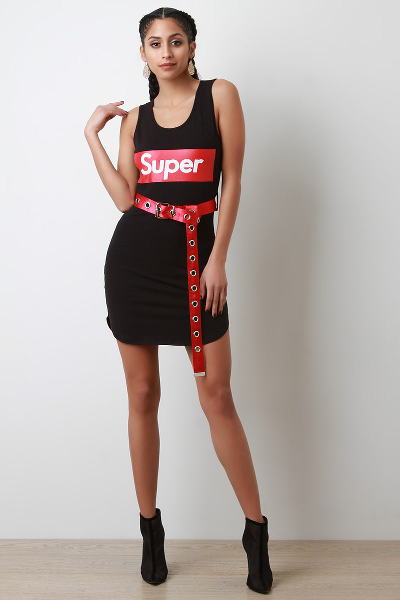 Belted Super Sleeveless Dress.