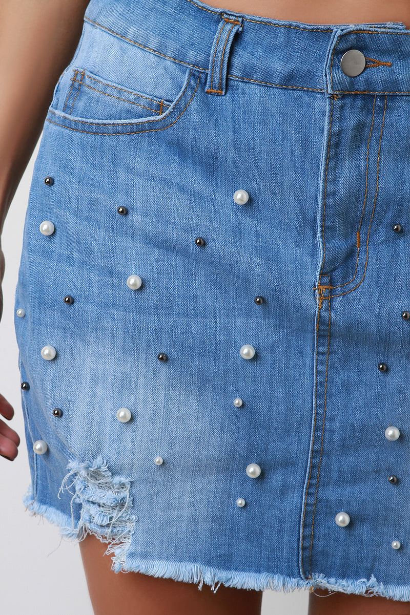76e978849b High Waisted Pearl Accent Raw Cut Mini Denim Skirt ...
