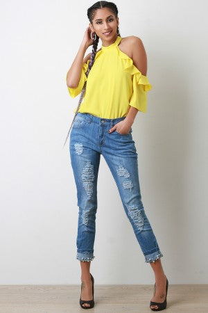 Distressed Denim Cuffed Pearl Mid Rise Jeans