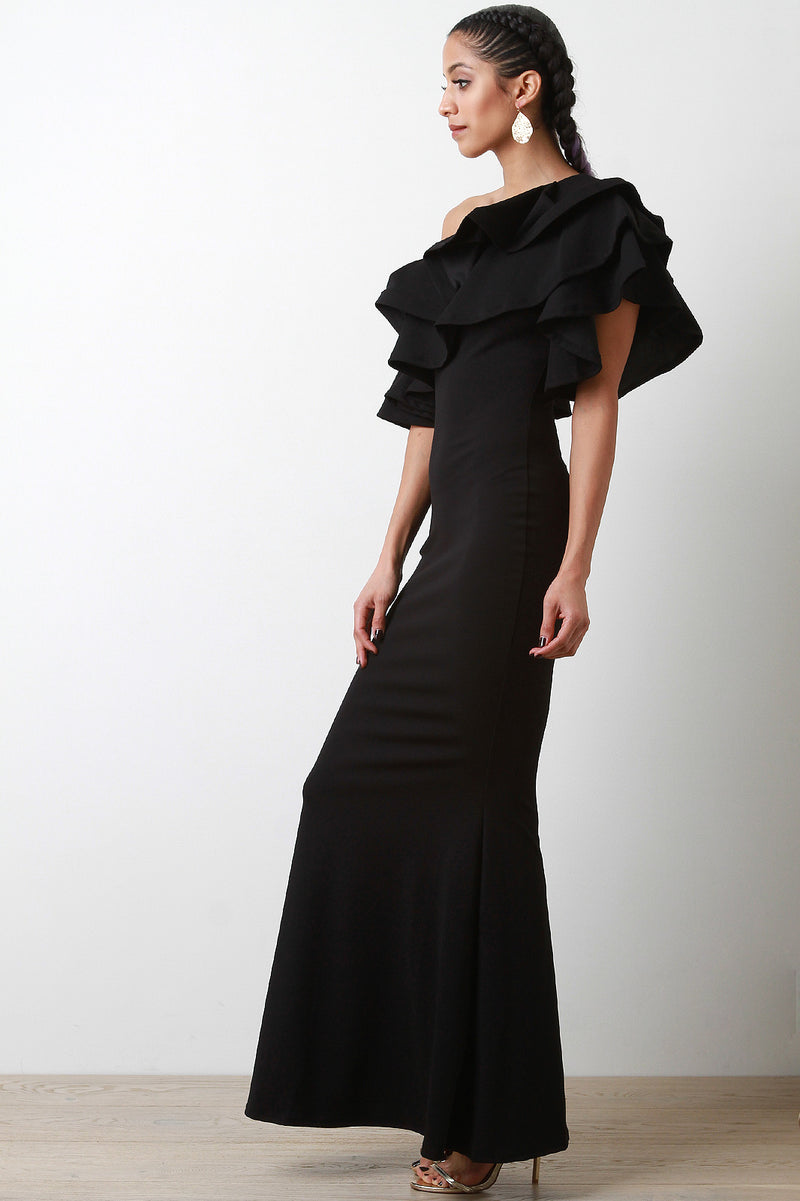 One-Shoulder Ruffle Tiered Mermaid Maxi Dress