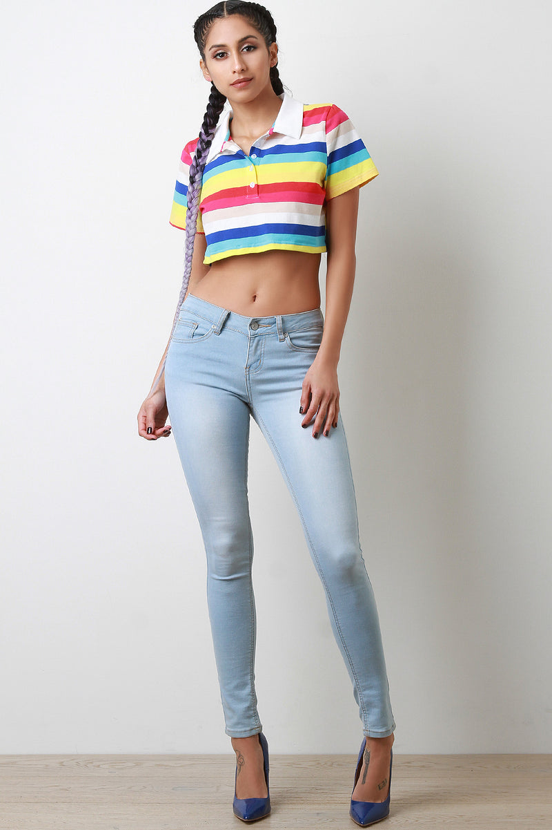 Colorful Striped Button-Up Collar Crop Top