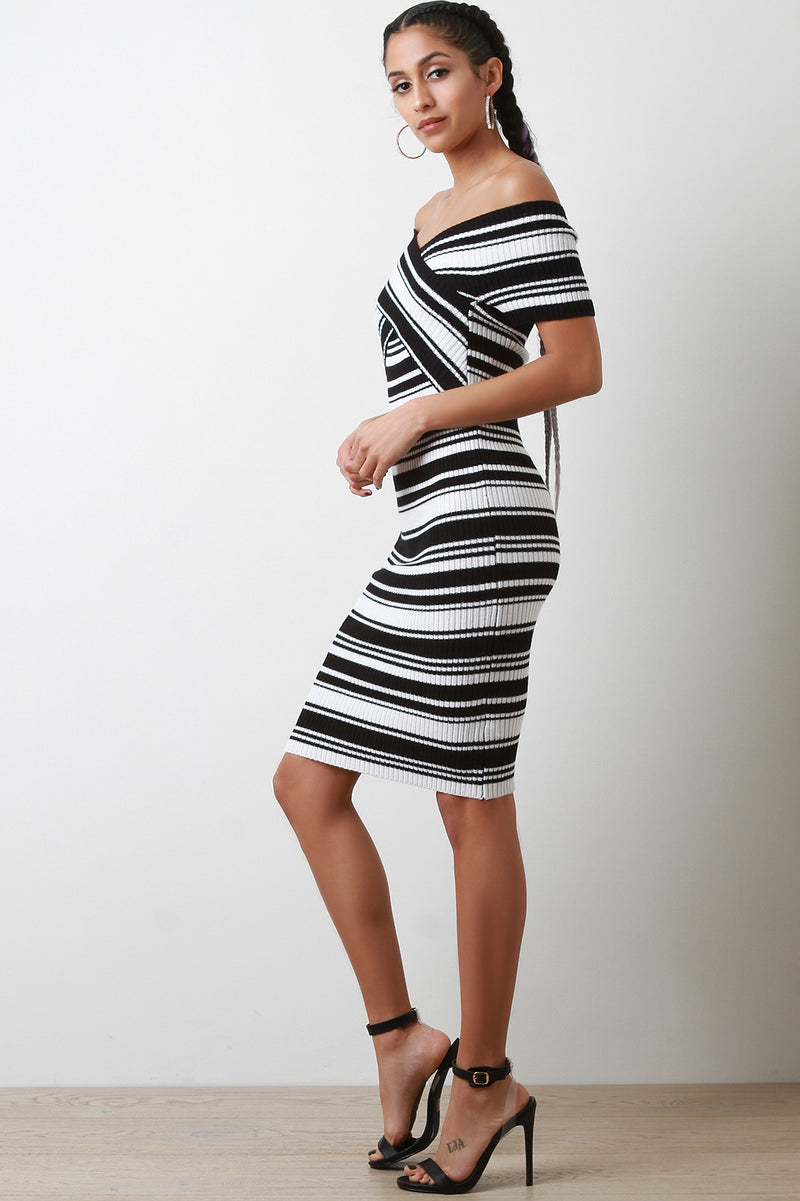 Striped Crisscross Off The Shoulder Knit Midi Dress