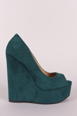 Peep Toe Vegan Suede Platform Wedge