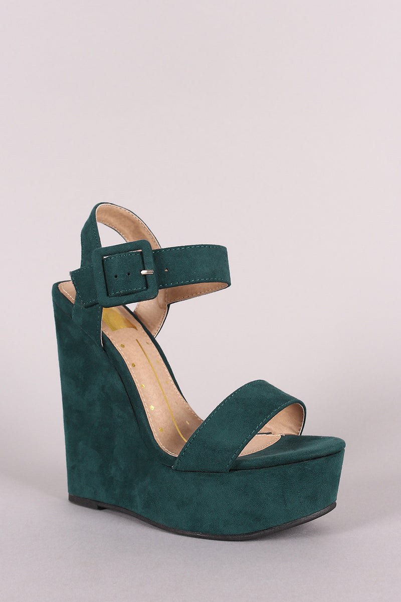 Suede Open Toe Buckled Ankle Strap Platform Wedge