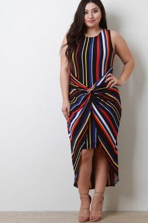 Striped Twisted-Front Sleeveless Dress